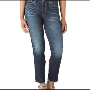 Levi Dark Wash High Rise Straight Ankle Jeans